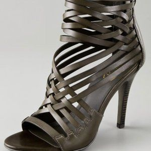 Worn once! Ash leather high heel strappy booties